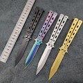 Keine Kante Edelstahl Praxis Schmetterling in Messer Trainer Training Folding Messer EDC Werkzeug Outdoor Camping Messer CS gehen taktische