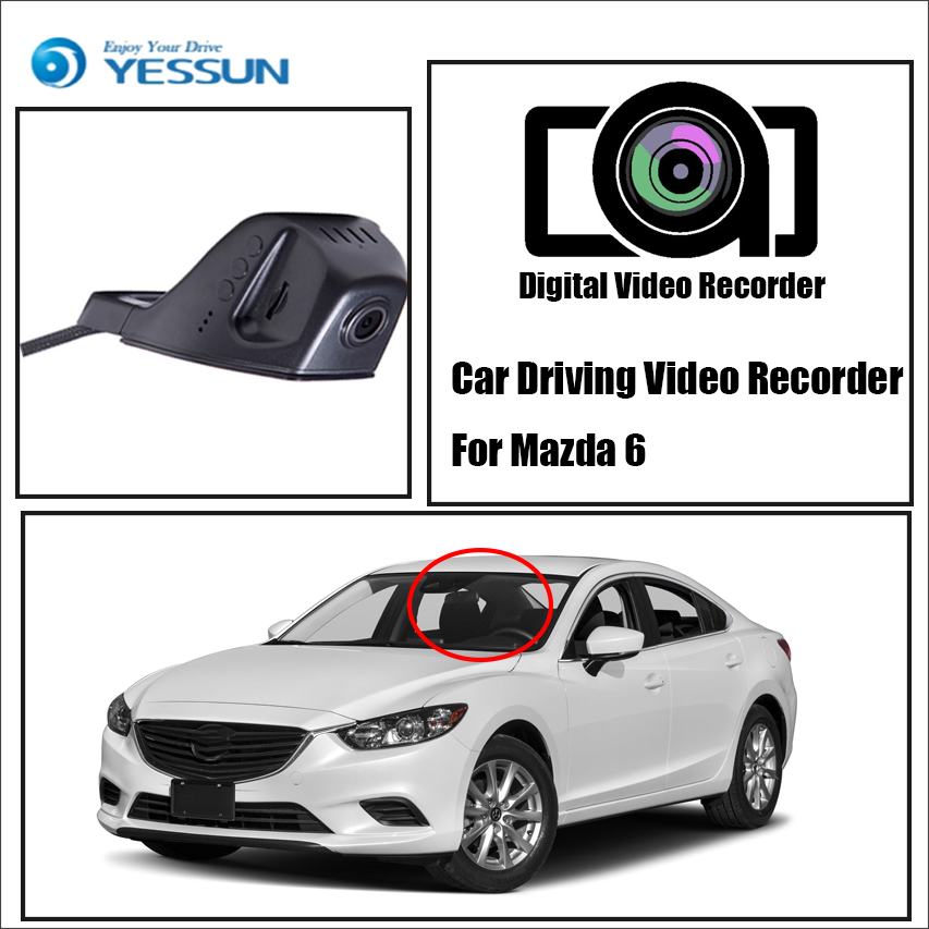 YESSUN For Mazda 6 - For iPhone Android APP - Car Front Dash Camera CAM / DVR Driving Video Recorder Control Black Box Function yessun for iphone android app car front dash camera cam for jeep wrangle dvr driving video recorder control black box functi