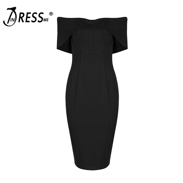 Buy INDRESSME 2017 New Women Sexy Off Shoulder Celebrity Bodycon Dress Black