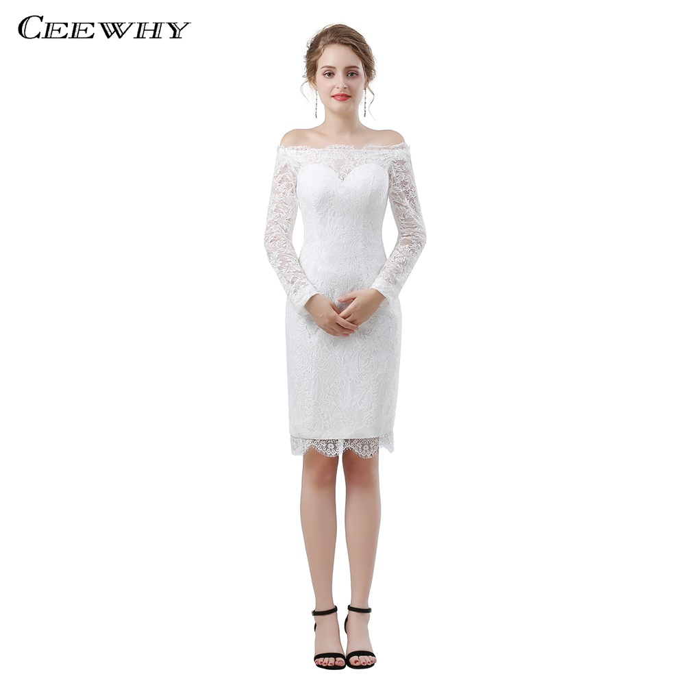 CEEWHY Long Sleeve Knee Length Lace   Dress   Elegant   Cocktail     Dresses   vestidos coctel mujer 2018 Cocktailkleid Graduation   Dresses