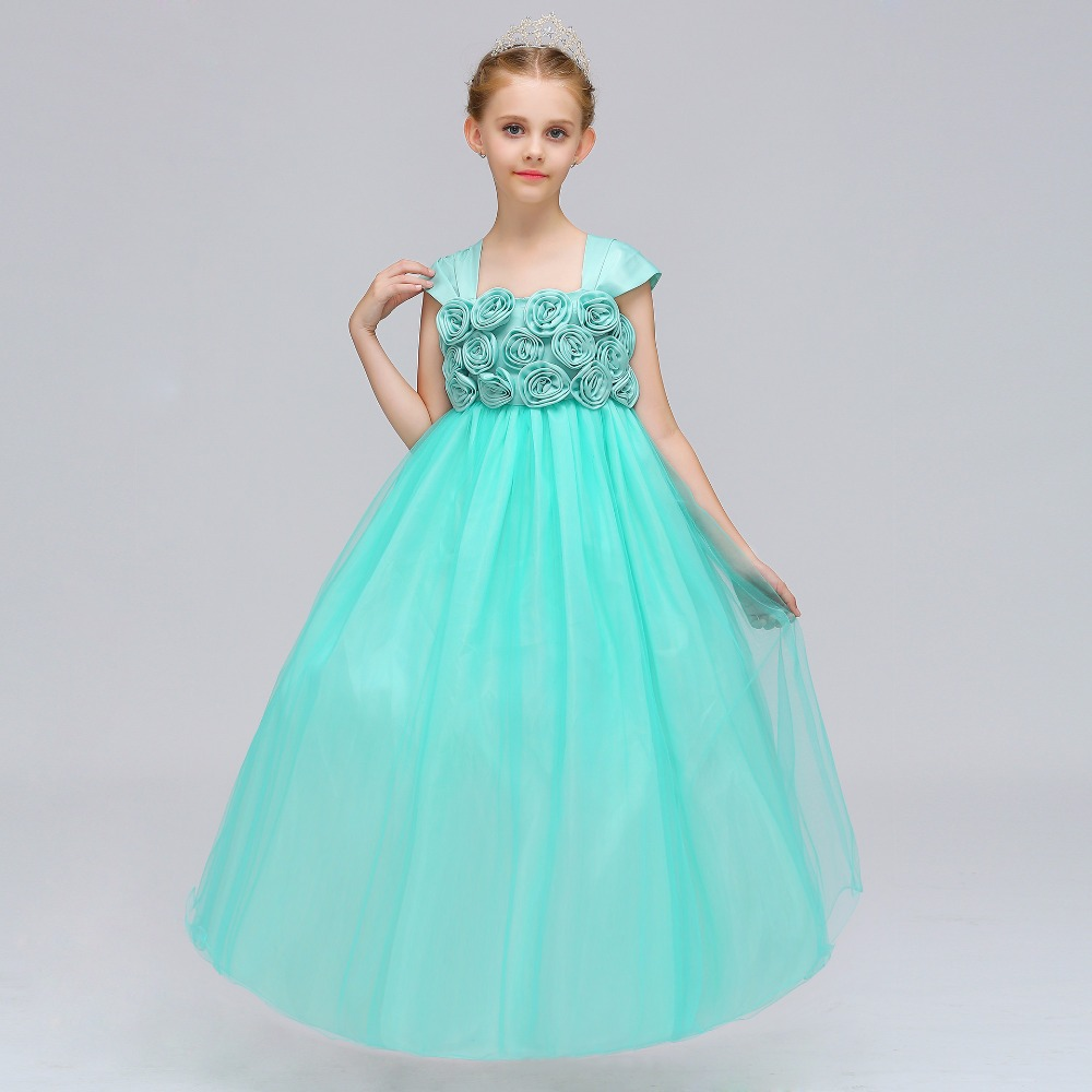 2018 girl floral clothing girl dress lace ball gown princess wedding ...
