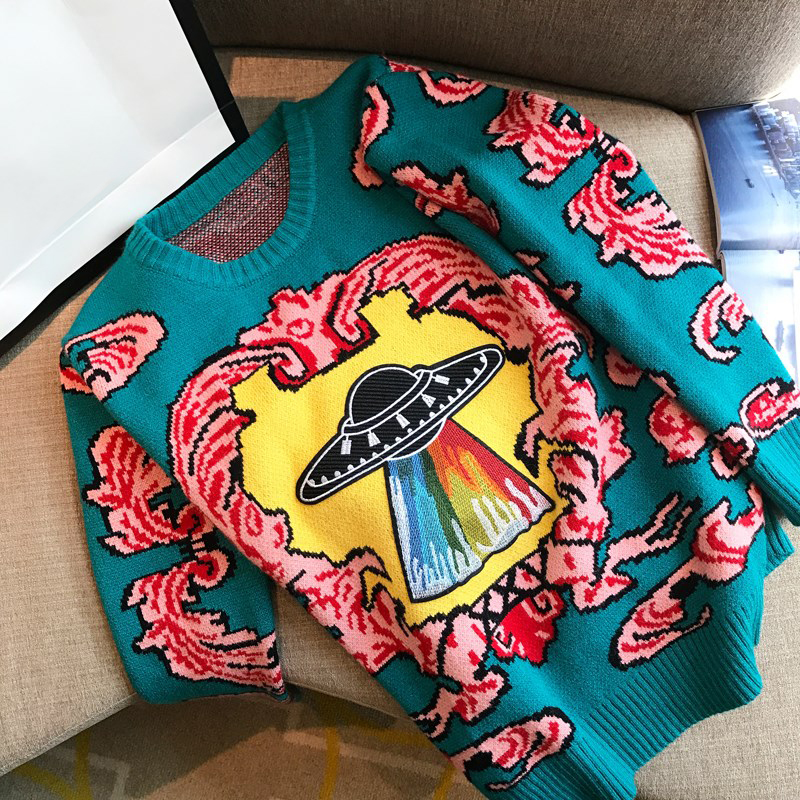 Women New vintage warm sweaters UFO Clouds Jacquard pullovers 4