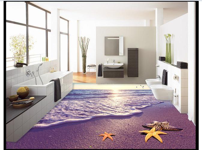 ФОТО Custom photo Waterproof floor wallpaper beach 3 d in the morning 3d mural PVC wallpaper self-adhesion floor wallpaer