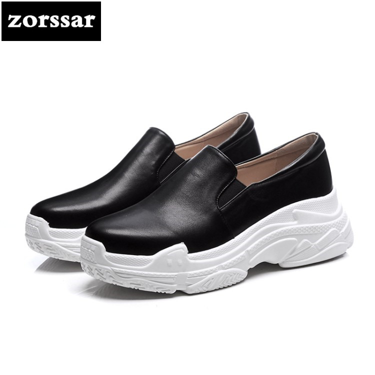 {Zorssar} Brand 2018 Spring New fashion Genuine Leather Women sneakers Casual Flats Comfortable flat Shoes female platform shoes minika new arrival 2017 casual shoes women multicolor optional comfortable women flat shoes fashion patchwork platform shoes