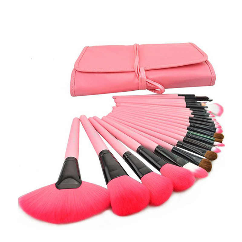 Dropshipping 24 Pcs Madeira Pincéis de Maquiagem Kit Professional Cosmetic Make Up Set + Bolsa Case Bag SMJ