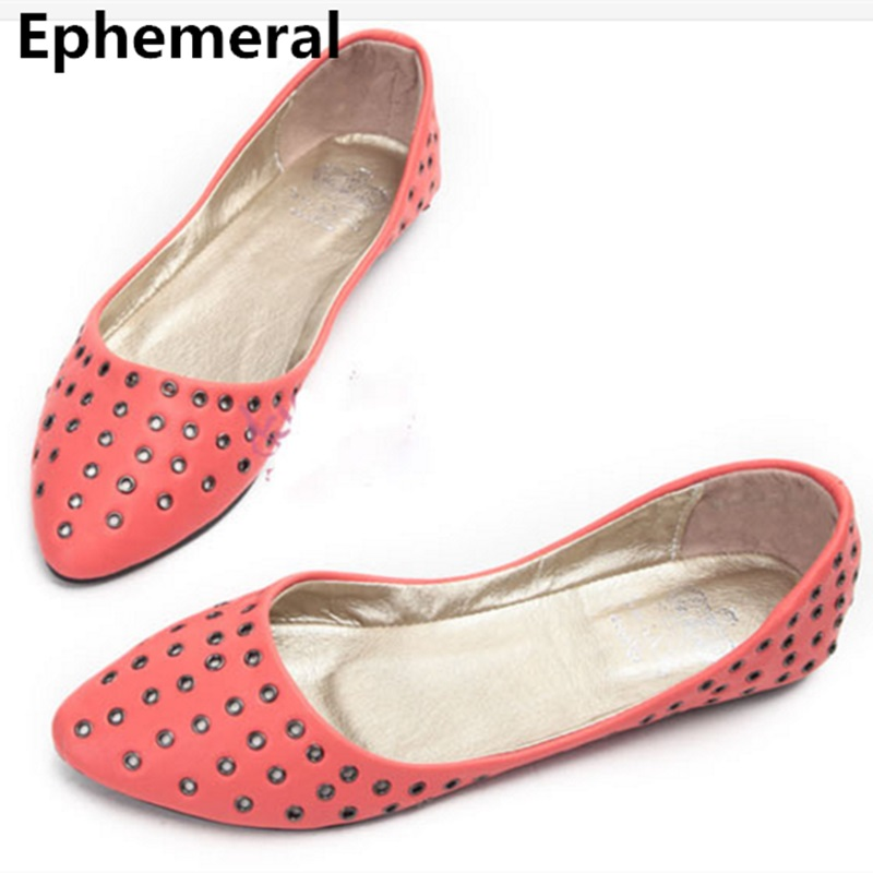 Lady Rivets Sequined plus size shoes women flats closed toe cover heels slip-on breathable Ballerina loafers summer fashion grey
