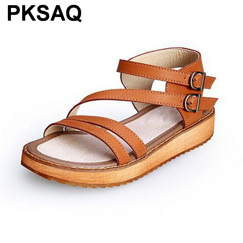 Woman Summer Style Wedges Flat Sandals Women  Sandals Shoes  Fashion Slippers Rome Platform Genuine LeatherWoman Summer Style Wedges Flat Sandals Women  Sandals Shoes  Fashion Slippers Rome Platform Genuine Leather