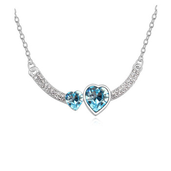 Double Crystal Heart Pendant Necklace 1