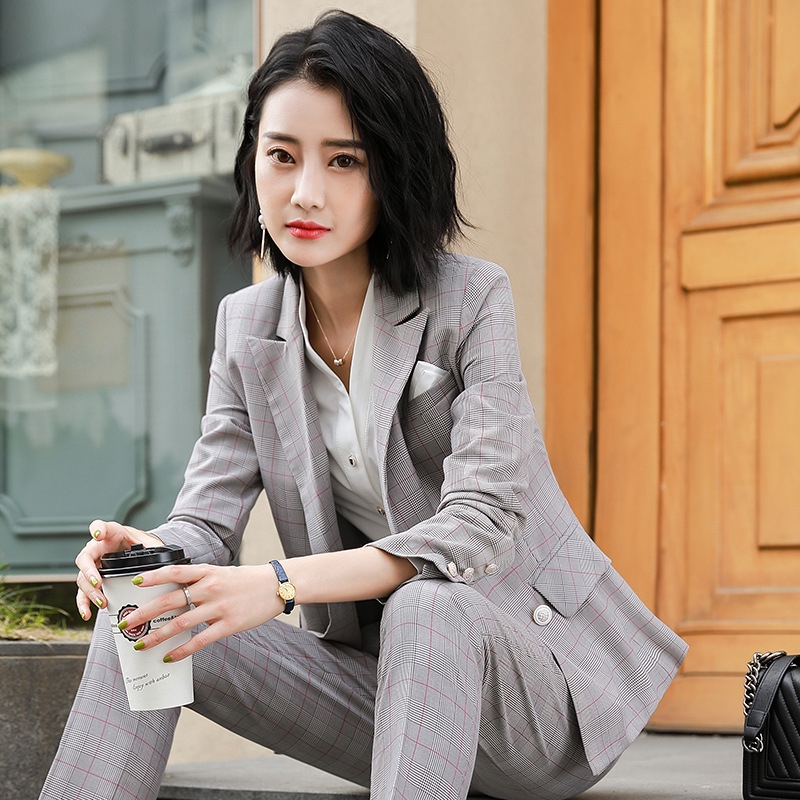 New Women 2019 Pant Suits grid Business Suits Office Lady Work Wear 2  Pieces Set Formal ac7589aa5
