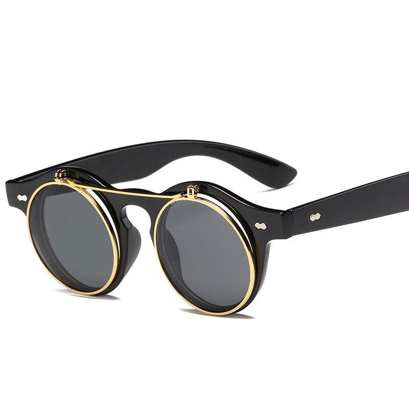 Metallo Della Copertura di Vibrazione Occhiali Da Sole Degli Uomini Delle Donne Del Progettista di Marca Retro Rotondo Steampunk steam punk di Modo occhiali da Sole occhiali oculos de Sol