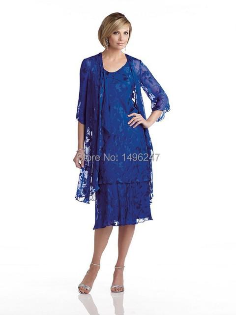 Top Fashion Azul Royal Apliques Chiffon Curto Vestidos de Baile Mãe