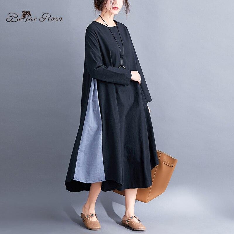BelineRosa Plus Size Women Clothing Loose Long Dress False 2 PCS Cotton Linen Dresses YPYC0019