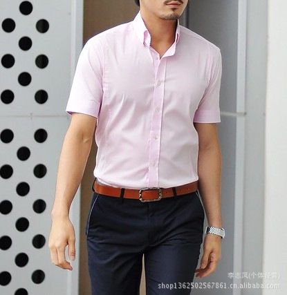 2014 new men's short sleeve pink shirt men shirt Slim Korean ...