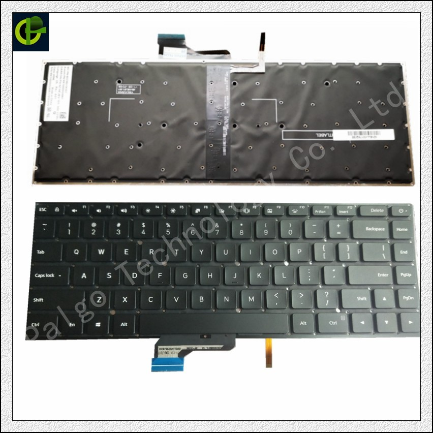 Original New English Backlit Keyboard for <font><b>Xiaomi</b></font> <font><b>Mi</b></font> <font><b>notebook</b></font> <font><b>Pro</b></font> <font><b>15.6</b></font> inch air laptop 9Z.NEJBV.101 NSK-Y31BV 171501 Black US image