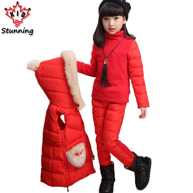 4T-12T Plus Size 3Pcs/Sets Winter Warm Girls Clothing Sets Thicken Sweater Vest Coats and Pants Kids Clothes Costume for Girls dunlop winter maxx wm01 205 65 r15 t