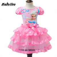 New Design Snow Queen Elsa Kids Girls Clothing Short Sleeve Cotton Dress Baby Girls Tutu Princess