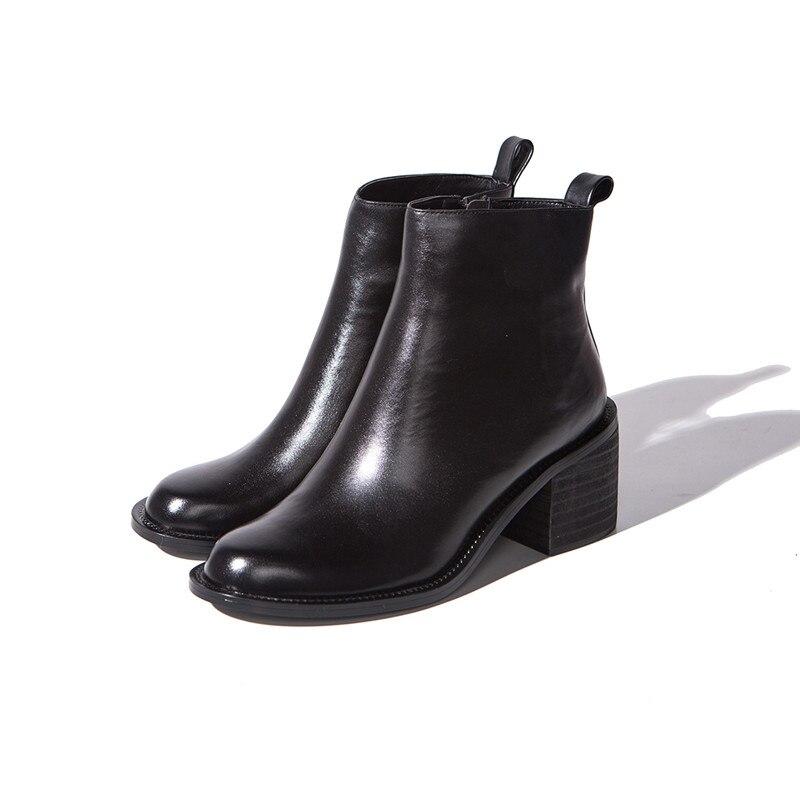 ASUMER 2020 moda nowy botki dla kobiet okrągły nosek zip buty z prawdziwej skóry kwadratowe wysokie obcasy buty czarne w Buty do kostki od Buty na  Grupa 3