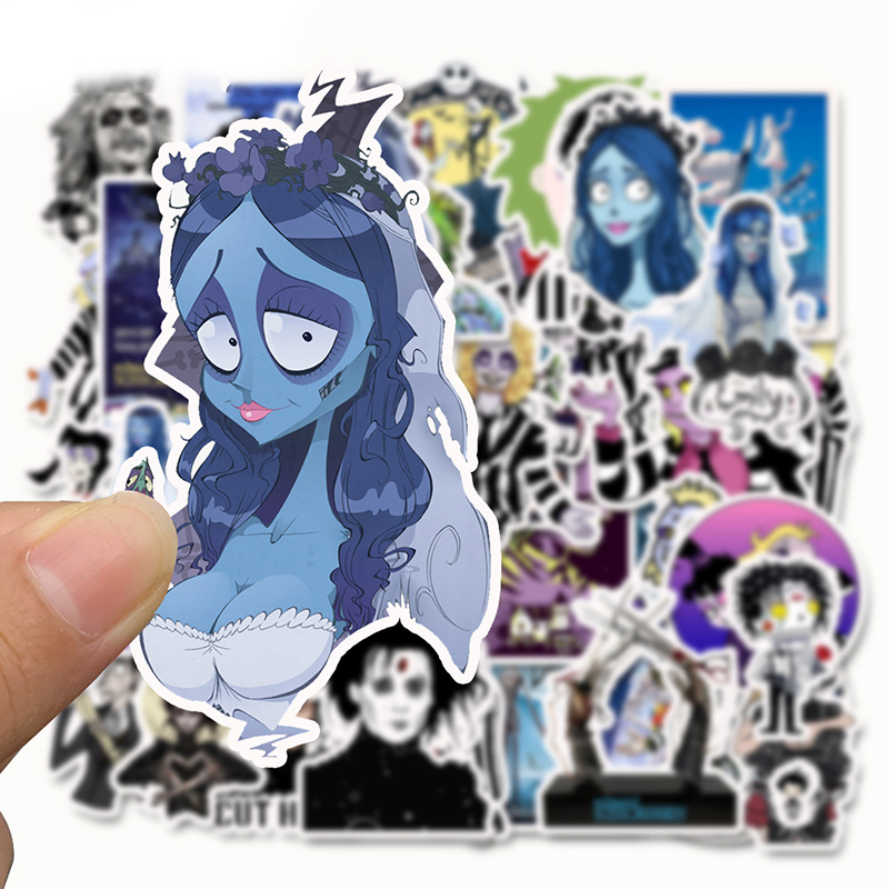 Image 5 - 50pcs Stickers Tim Burton Classic Movie Edward Scissorhands Graffiti Sticker For Skateboard Laptop Bicycle Waterproof Decals-in Stickers from Toys & Hobbies