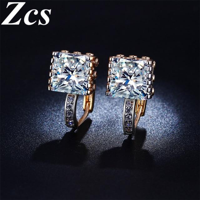 Zcs Hoop Earring 18k Rose Gold Filled Luxury Square Cz Diamond Earrings For Women Vintage