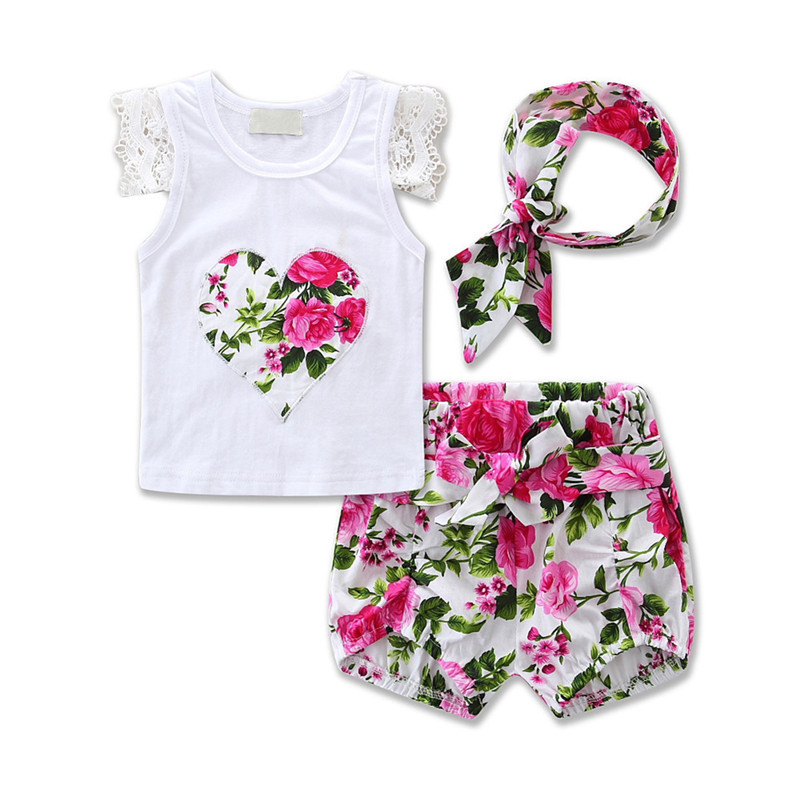 Toddler Infant Baby Girls Cotton Outfits Headband+Lace T-shirt+Floral Pants Kids Clothes 3pcs Set Lace Flower Heart Pattern