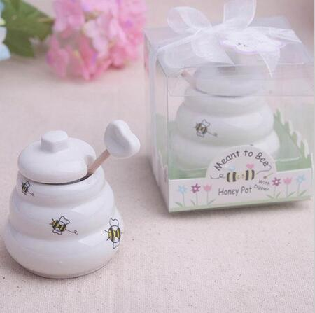 Free Shipping 100 pcs Ceramic Meant to Bee Honey Jar Honey Pot Wedding favors / Baby shower favors