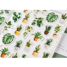45pcs/box Kawaii Green oxygen life Diary Mini Paper Sticker Decoration DIY Album Diary Scrapbooking Label Sticker Stationery