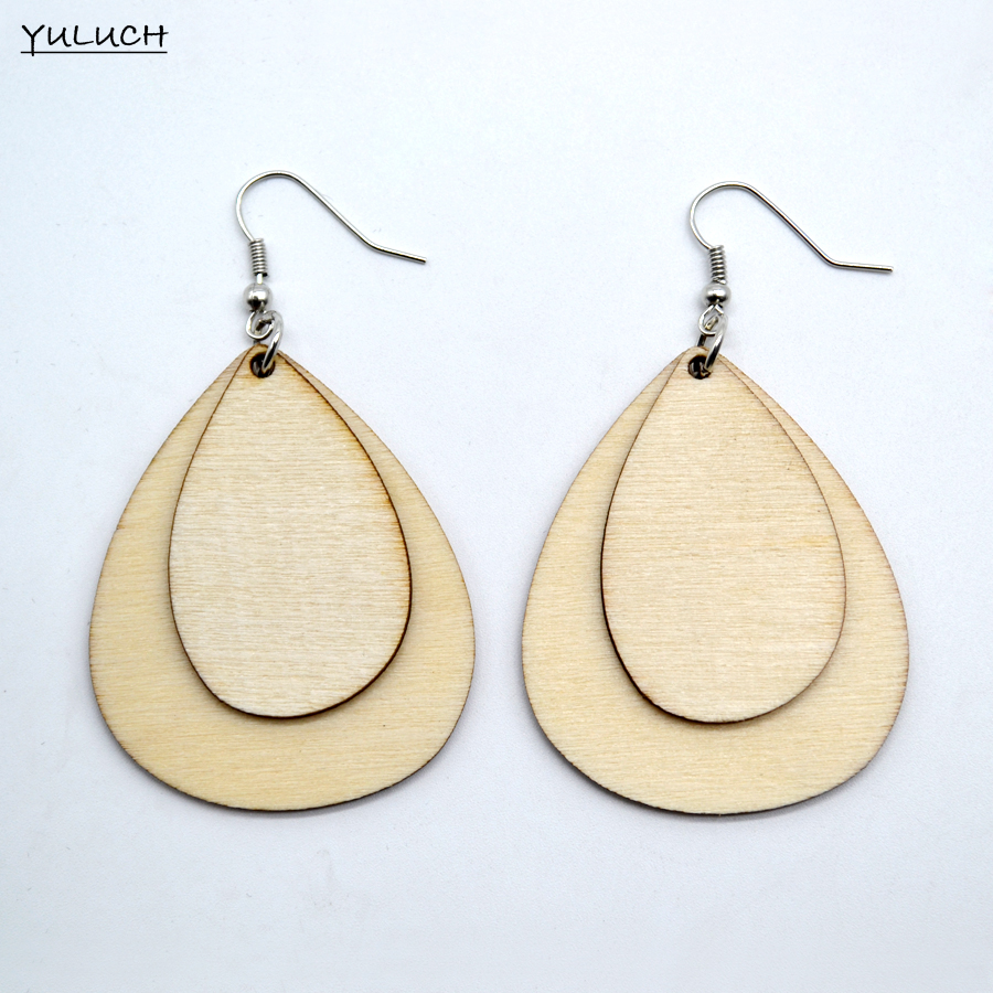 pair latest design Unfinished Tassel Round hollow wood jewelry earring personality latest african wood earrings