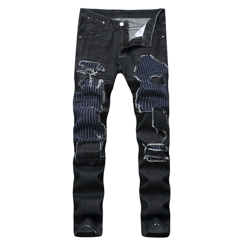 2017 New Mens Casual Patchwork Ripped Biker Jeans Men Fashion Punk Slim Fit Straight Skinny Plus Size Denim Pants Long Trousers 2017 fashion mens patch jeans slim straight denim biker jeans trousers new brand superably jeans ripped dark jeans men u329