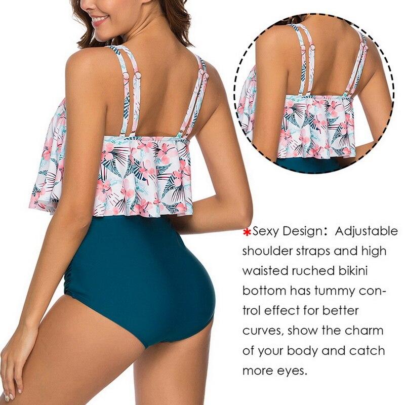 HTB18EGKborrK1RkSne1q6ArVVXao 2019 New Sexy Women Bikini Set Mujer Ruffle Floral Printed Swimsuit Push Up High Waist Bikini Biquinis Brazilian Swimwear Summer