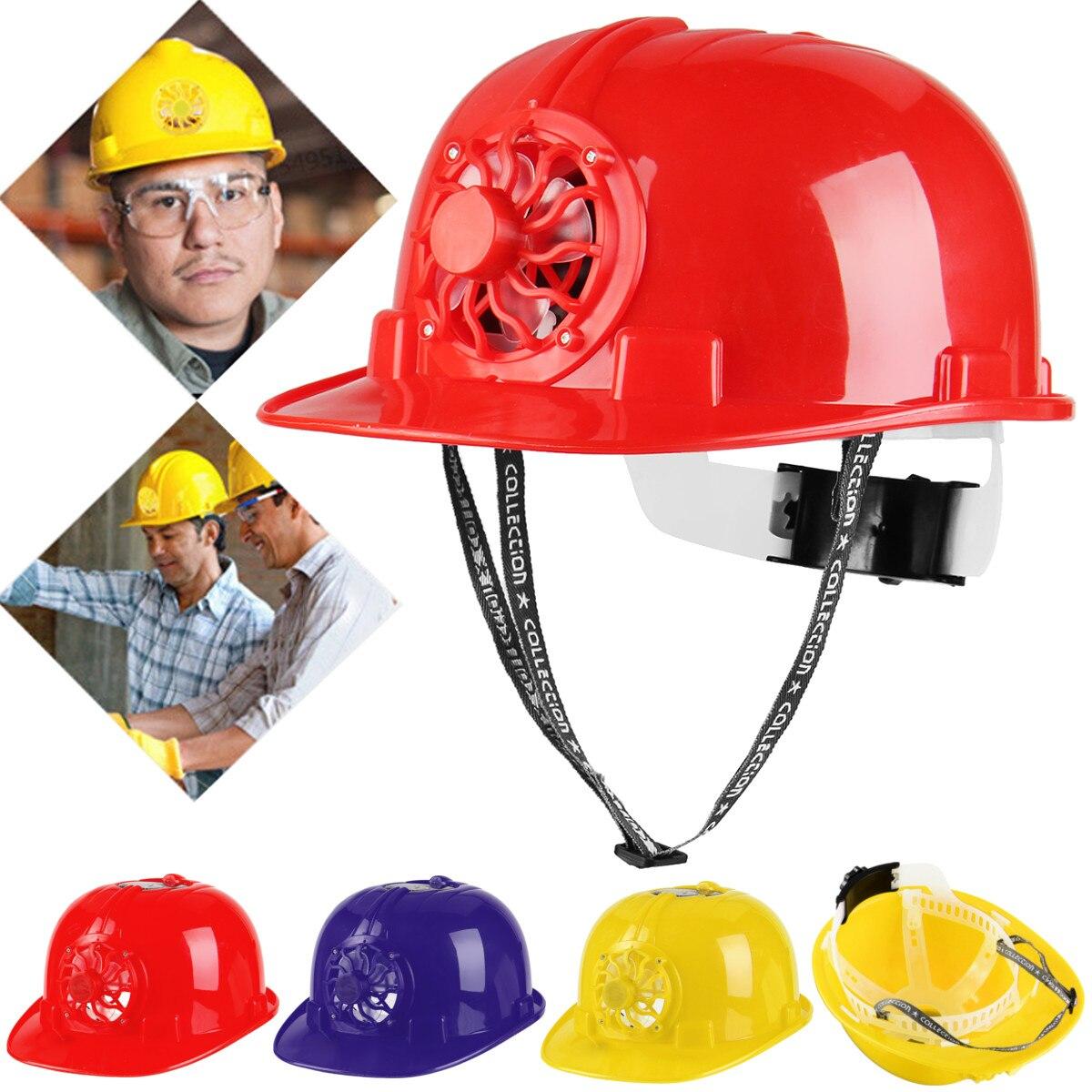 Cool Fan Summer Energy Saving Smile Solar Powered Safety Helmet Hard Hat Cap