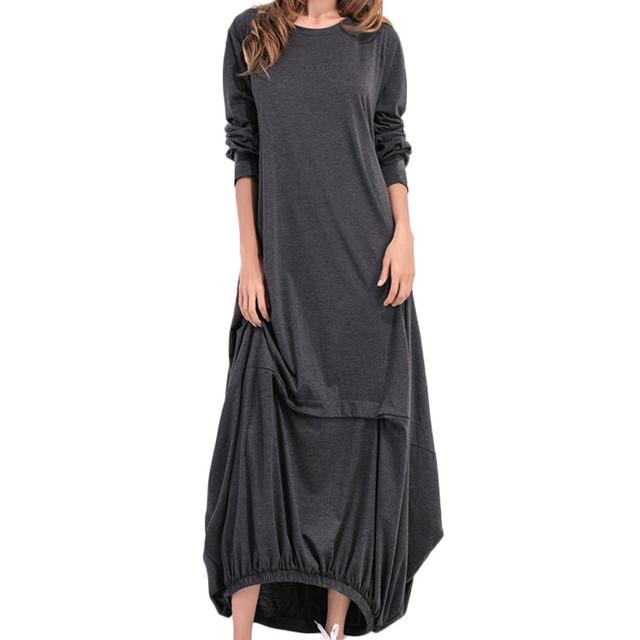 JAYCOSIN Womens O Neck Long Sleeve Kaftan Maxi Dress Summer Autumn Cotton Linen Gown Robe Dresses Plus Size Large Size Dresses