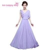 Dziewczyny tanie formalna długi v neck lace up linii koronki up sukienka druhna lilac suknie brides pokojówka sukienki plus size H3568
