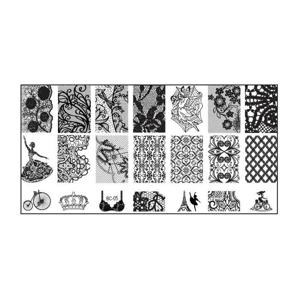New DIY Plate Nail Art Templates Lace Flower Nail Stamping Plates ...
