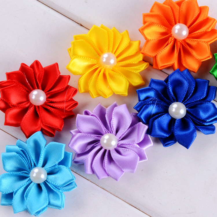 Yundfly 1.6 15pcs Chic Ribbon Rosette Flowers With Pearl Button Used for Diy Headband Clips Hair Accessories Decorations