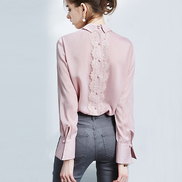 Mara Alee Pink shirt lace blouses collar shirt for women tops ...