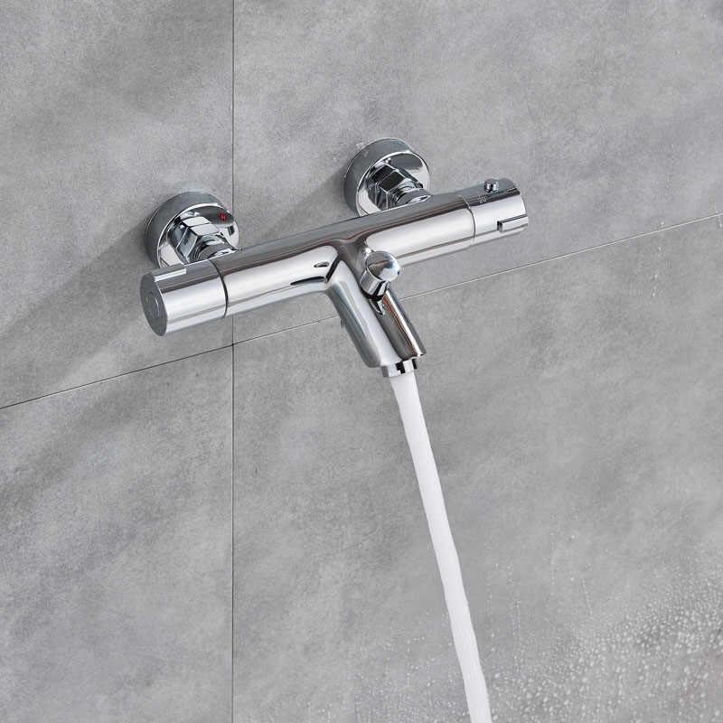 Krom termostatik duş bataryası vana çift kolu sıcaklık kontrol kontrol vanası bacalı duvara monte duş vana