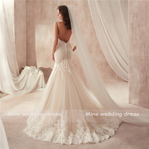 Image 3 - Real Photos Sweetheart Spaghetti Straps Champagne Mermaid Wedding Dress 2020 Lace Appliques Tulle Bridal Gowns Vestido De Noiva