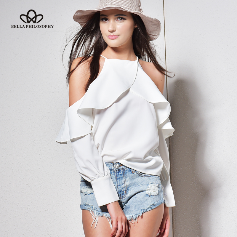 Bella Philosophy new spring summer ruffle blouse shirt halter neck cami cold off shoulder top women chiffon blusa feminina