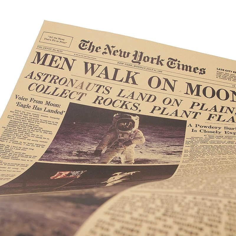 DLKKLB アポロ 11 月面着陸ニューヨーク回ヴィンテージポスタークラフト紙レトロ装飾 51 × 35.5 センチメートルウォールステッカー