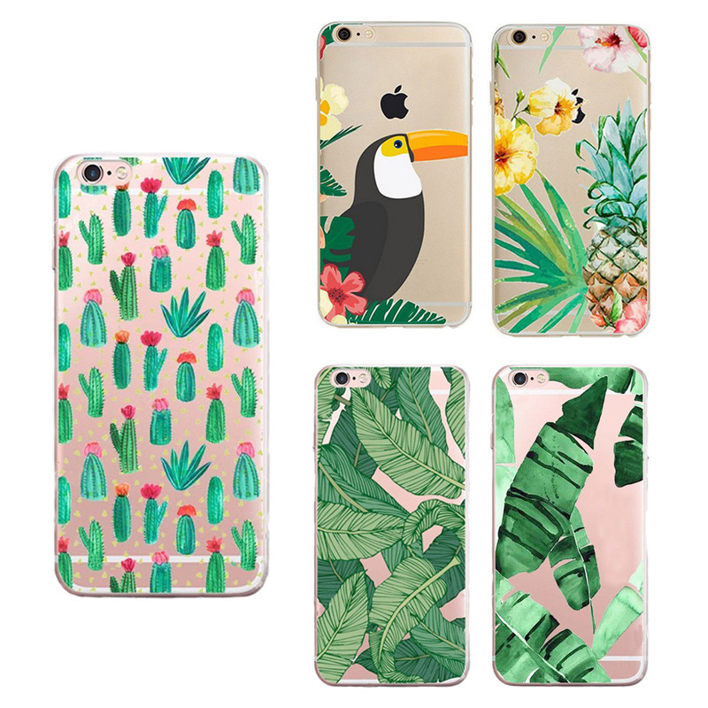 Clear Soft TPU Phone Cases for Iphone 6 6s 4.7inch Banana Leaf Summer Flowers Flamingo Painted Phone Covers for Iphone 6