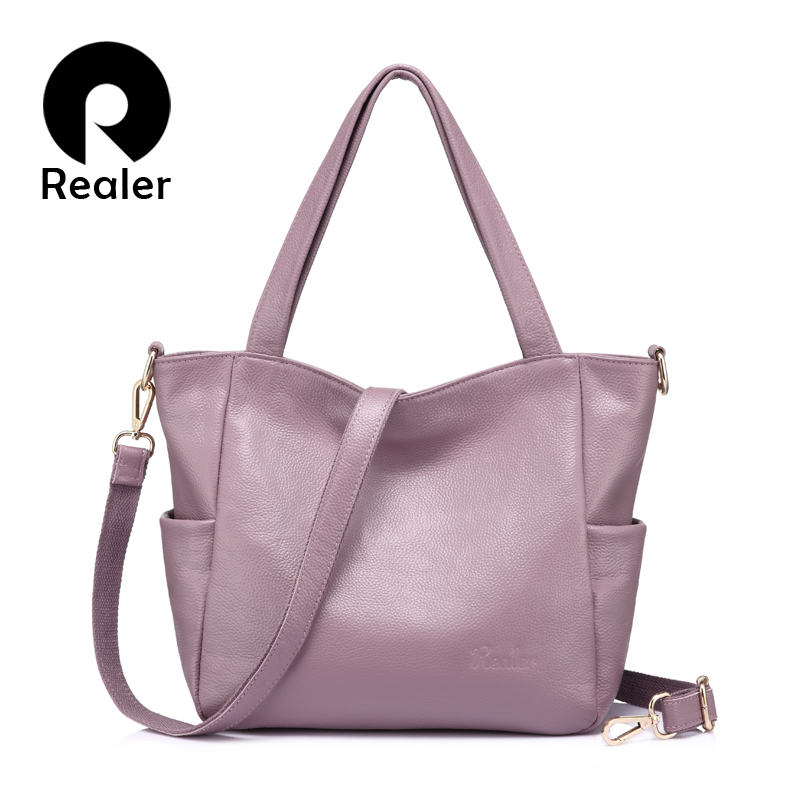 REALER genuine leather bags for women ladies handbag large capacity shoulder bag high quality cow leather
