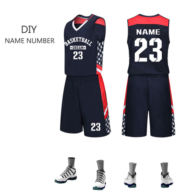 f75a86f51b8 2019 Men Basketball Jersey Set Sport Shirt   Shorts Student Team Uniform  Custom Logo Number Name