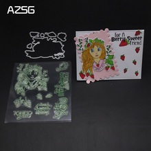 AZSG pretty girl Strawberry Cutting Dies Clear Stamps/Seal For DIY Scrapbooking/Card Making/Album Decorative Crafts
