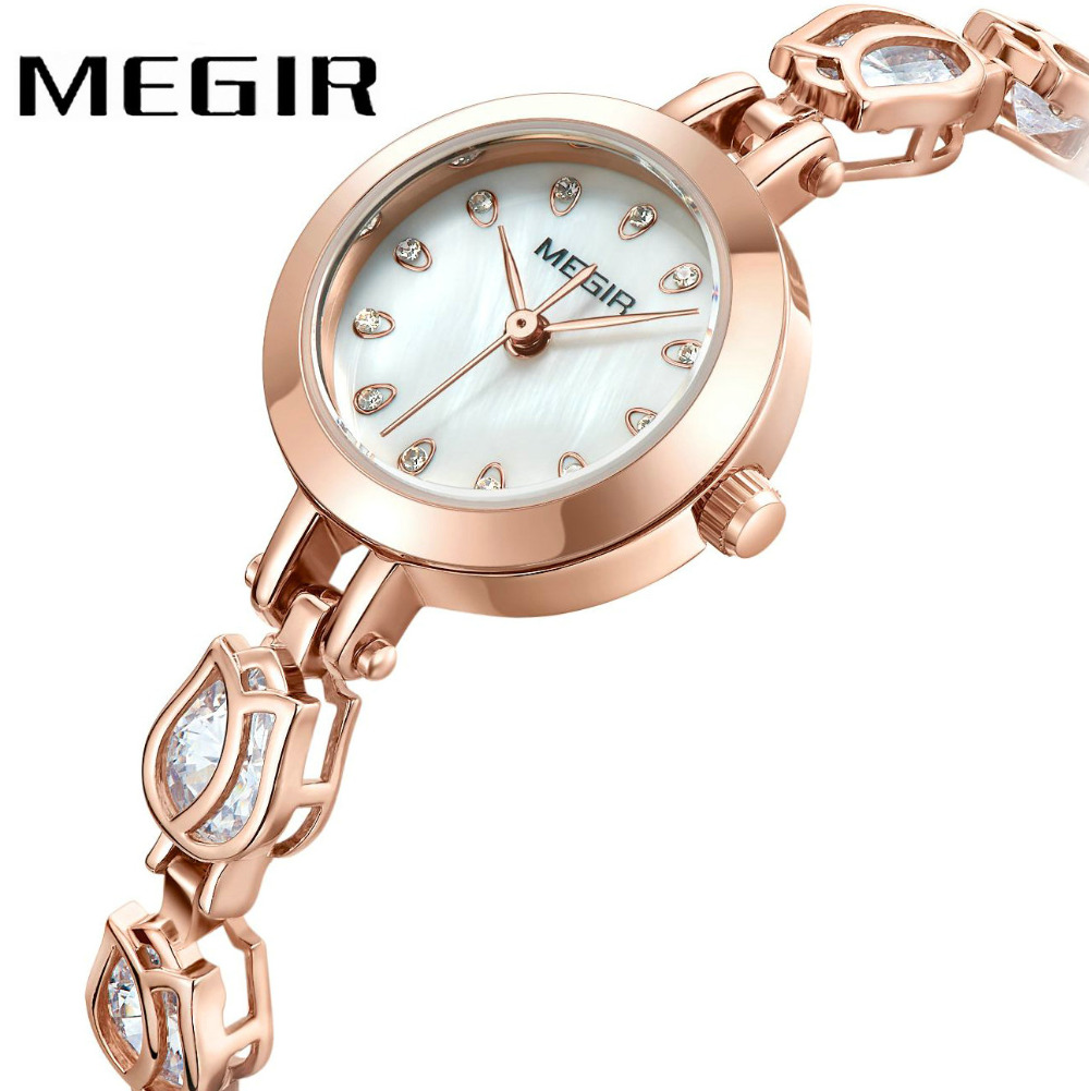 MEGIR Elegant Fashion Ladies Quartz Watch Rose Golden Women Bracelets Diamond Crystal Decoration Luxury Wristwatch relogio wecin f5049 female quartz watch with diamond decoration golden watch case