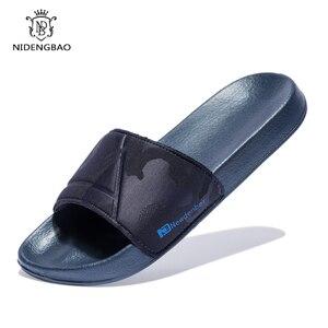 Image 1 - 브랜드 품질 슬리퍼 남자 욕실 신발 플랫 플립 퍼 빛 야외 비치 샌들 신발 큰 크기 50 어두운 위장 표면