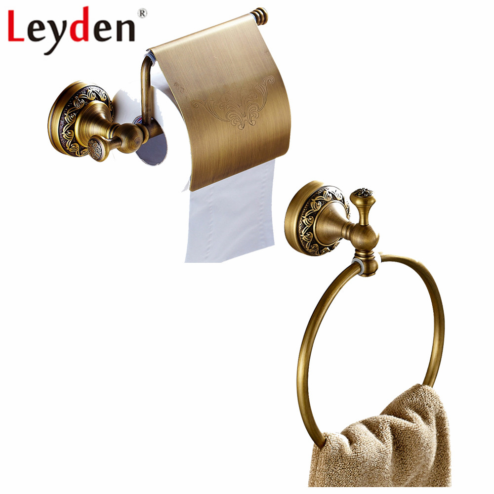 Leyden Antique Brass 2pcs Set Silver Wall Mounted Towel Ring Toilet Paper Holder With Cover For Bathroom Accessories Set цены онлайн