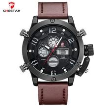 CHEETAH 2016 Fashion Watches Men Luxury Brand Watches Men Leather Military Sports Quartz watch Dual Time Clock Relogio Masculino
