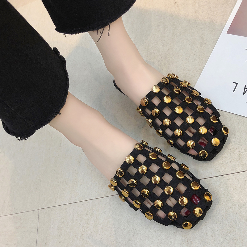Spring Summer Half slippers Sandals Female Fashion Rivet Flat Bottom Outside Red Slippers flip flops slippers sexy rivets ladies