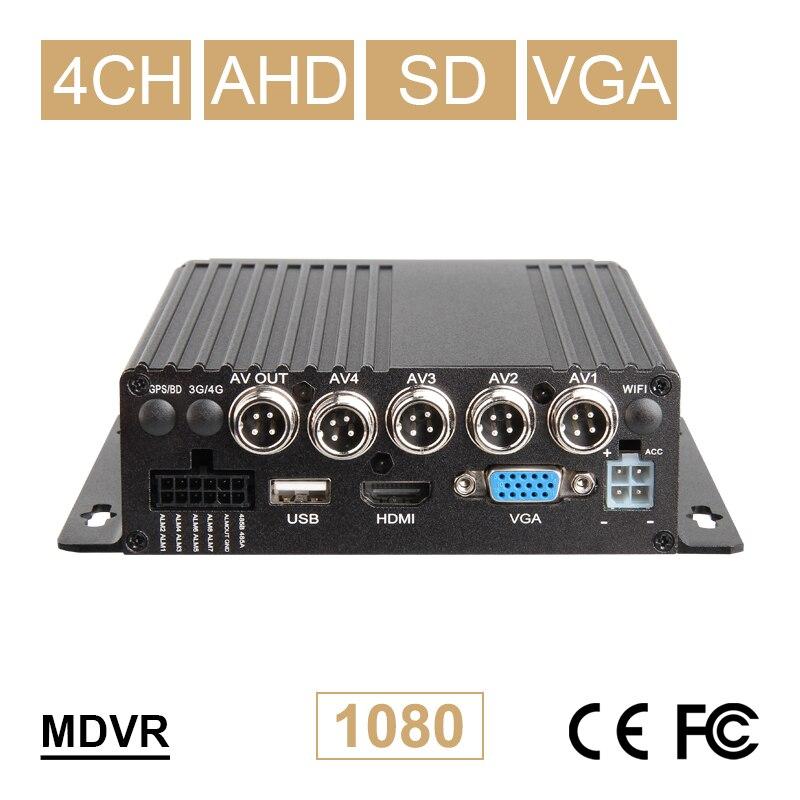 Envío Gratis tarjeta SD móvil Dvr 1080P AHD grabadora de vídeo 4CH entrada de vídeo/Audio VGA salida CCTV sistema de seguridad vehículo coche Dvr