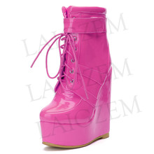 LAIGZEM SUPER Vrouwen Enkellaarsjes Platform Wedge Laarzen Dames Party Club SHINY SPOTLIGHT Hakken Botines Mujer Kleine Grote Maat 34 -52(China)